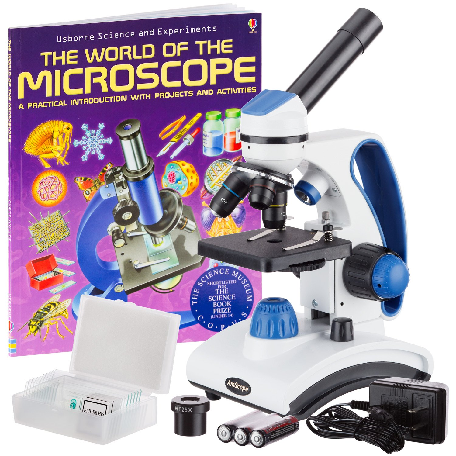 AmScope AWARDED 2016 BEST STUDENT MICROSCOPE 40X-1000X Dual Light Glass Lens All-Metal Frame Student Microscope with Slides and Book by AmScope