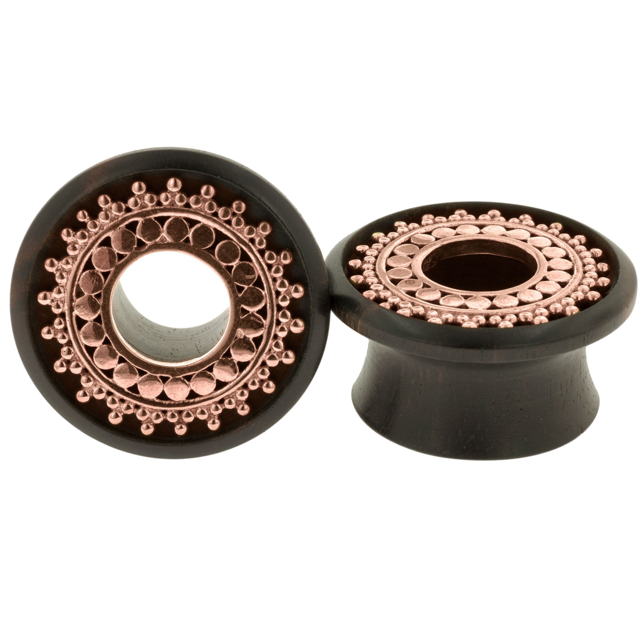 Pair of Ebony Double Flared Eyelets with Copper Afghan Inlay: 1-3/8''