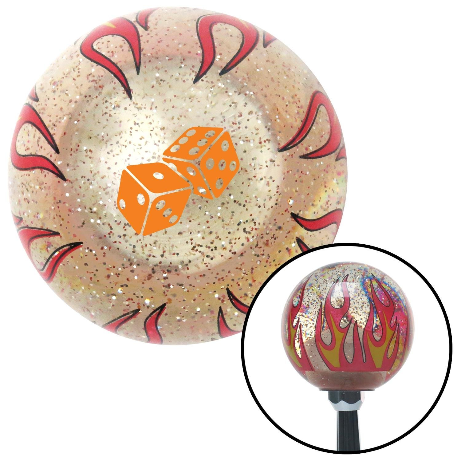 American Shifter 295448 Shift Knob Orange Set of Dice Clear Flame Metal Flake with M16 x 1.5 Insert
