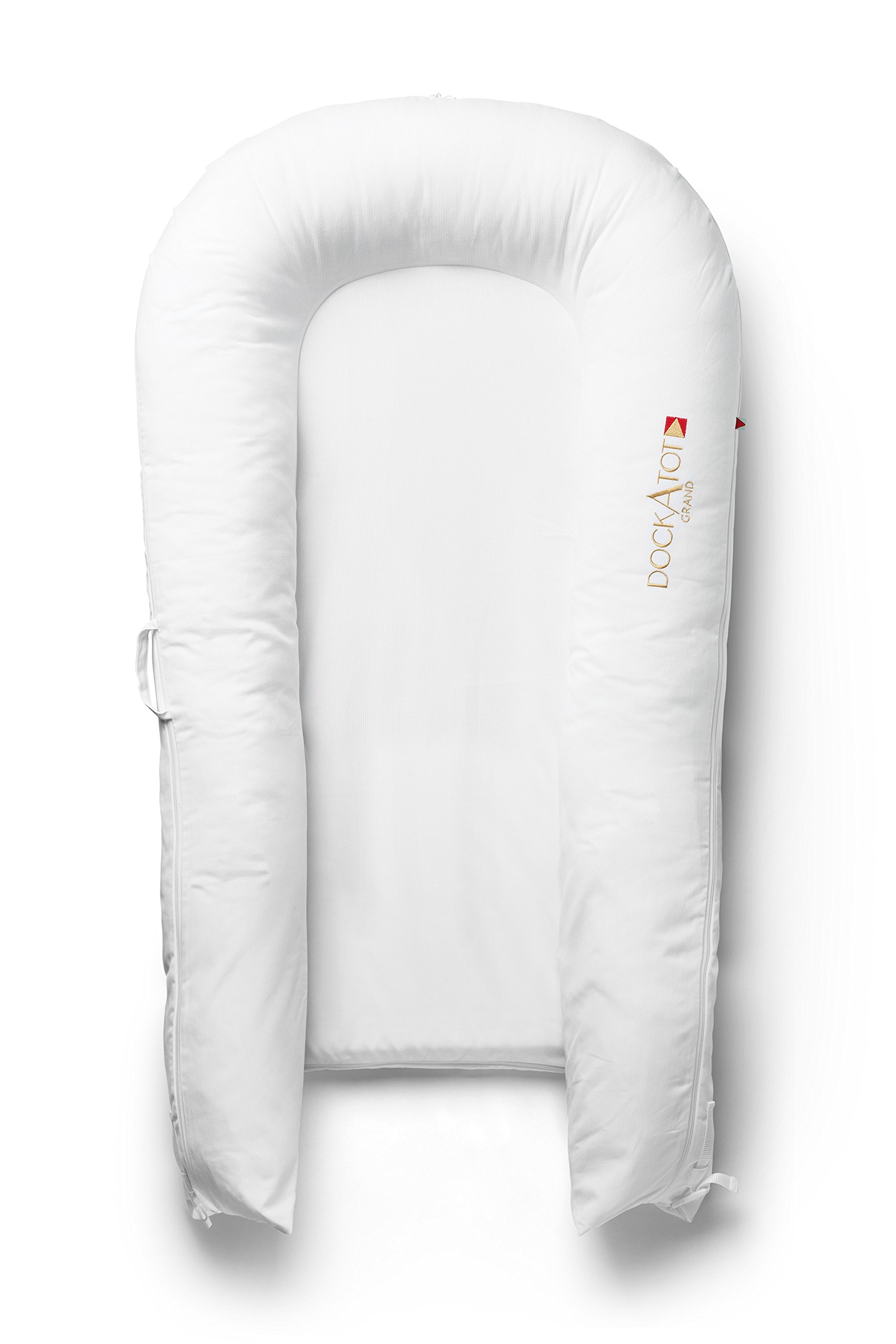 DockATot Grand Dock (Pristine White) - Perfect for Cuddling, Lounging, Co Sleeping & Crib to Bed Transition - Breathable & Hypoallergenic - Lightweight for Easy Travel - Suitable from 9-36 months