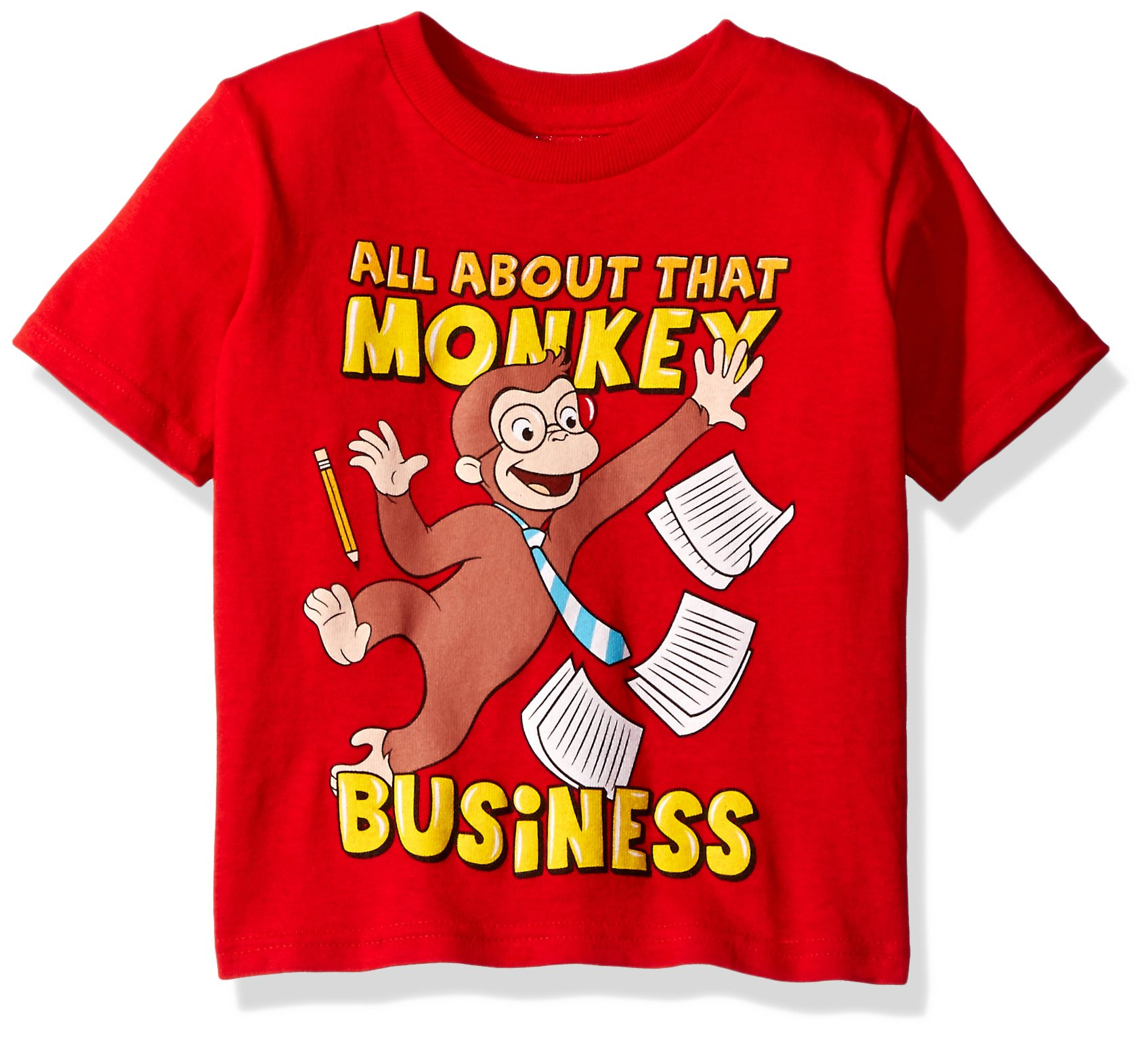 Curious George Toddler Boys' Monkey Business Short Sleeve T-Shirt, Red, 4T