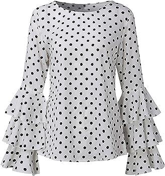 Longra Camisa Manga Larga para Mujer, Mujer Camiseta Mangas Largas Volantes Lunares Blusa Elegante Noche Casual Oficina (S, Blanco): Amazon.es: Ropa y accesorios