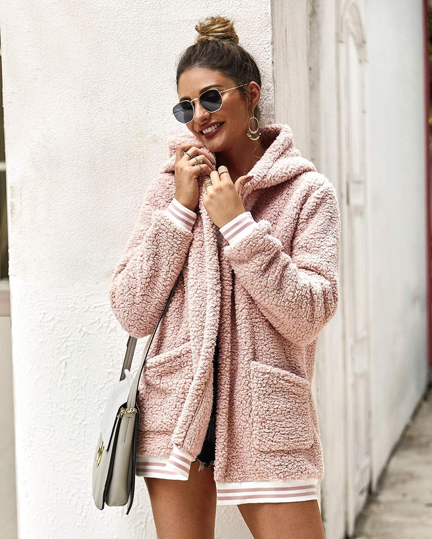 ECOWISH Womens Jacket Fleece Long Sleeve Open Front Hooded Jackets Cardigan Coat Top Winter Outwear with Pockets