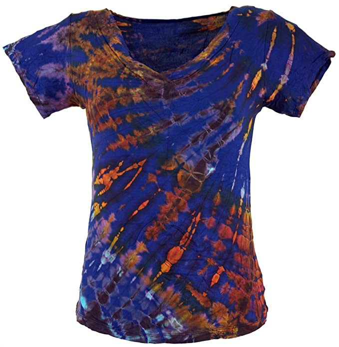 GURU-SHOP, Camiseta Hippie Batik con Cuello en V, Azul, Sintético,