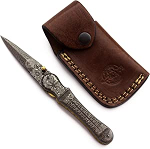 WolfKlinge Handmade Damascus Steel Pocket Knife, Damascus Scales, Tactical Survival Hunting with Cowhide Leather Sheath (Camel Bone)