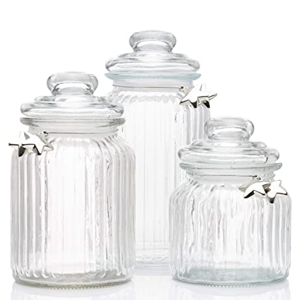 Aviro Home Glass Apothecary Jars with Lids - Cookie Jar, Candy Jar, Glass  Kitchen Canisters, Wedding Centerpieces for Tables. Bathroom Organizer. Set  ...
