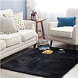 Bedsure Fluffy Shag Area Rugs for Bedroom, Black Plush Living Room Carpet 4 x 5.3 Feet, Fuzzy Nursery Shaggy Rugs for…