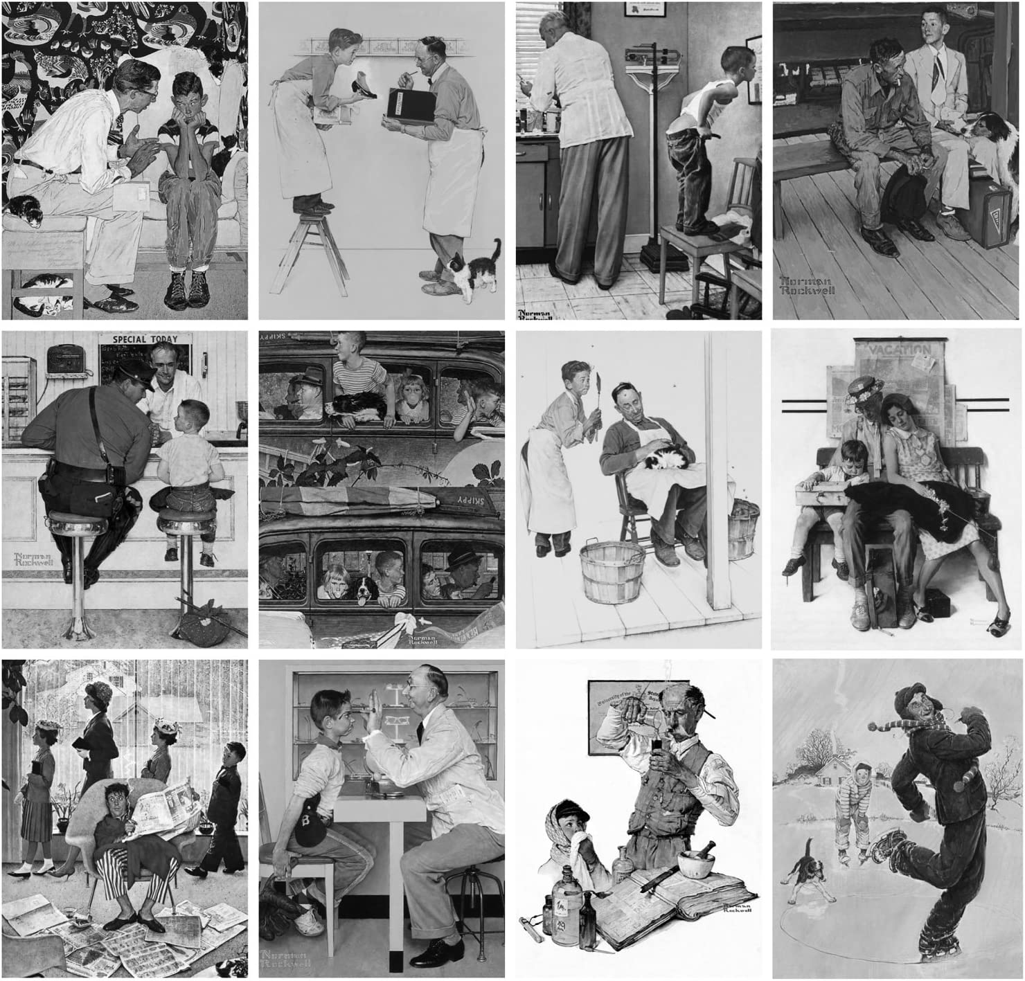 Norman Rockwell Everyday Life FLONZ Vintage Designs for Grayscale Coloring Adult Coloring Book 24 pages 8x11//A4