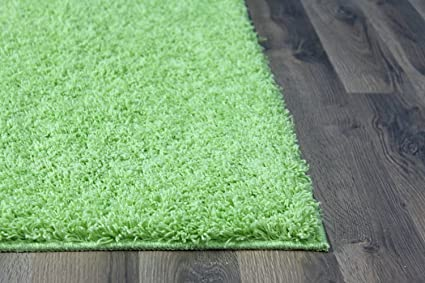 Super Area Rugs Cozy Collection Lime Green Shag Rug, 5 Feet By 8