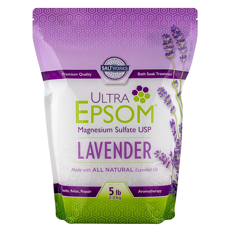 Ultra Epsom Premium Scented Epsom Salt, Lavender, 5 Lb (Packaging may vary)