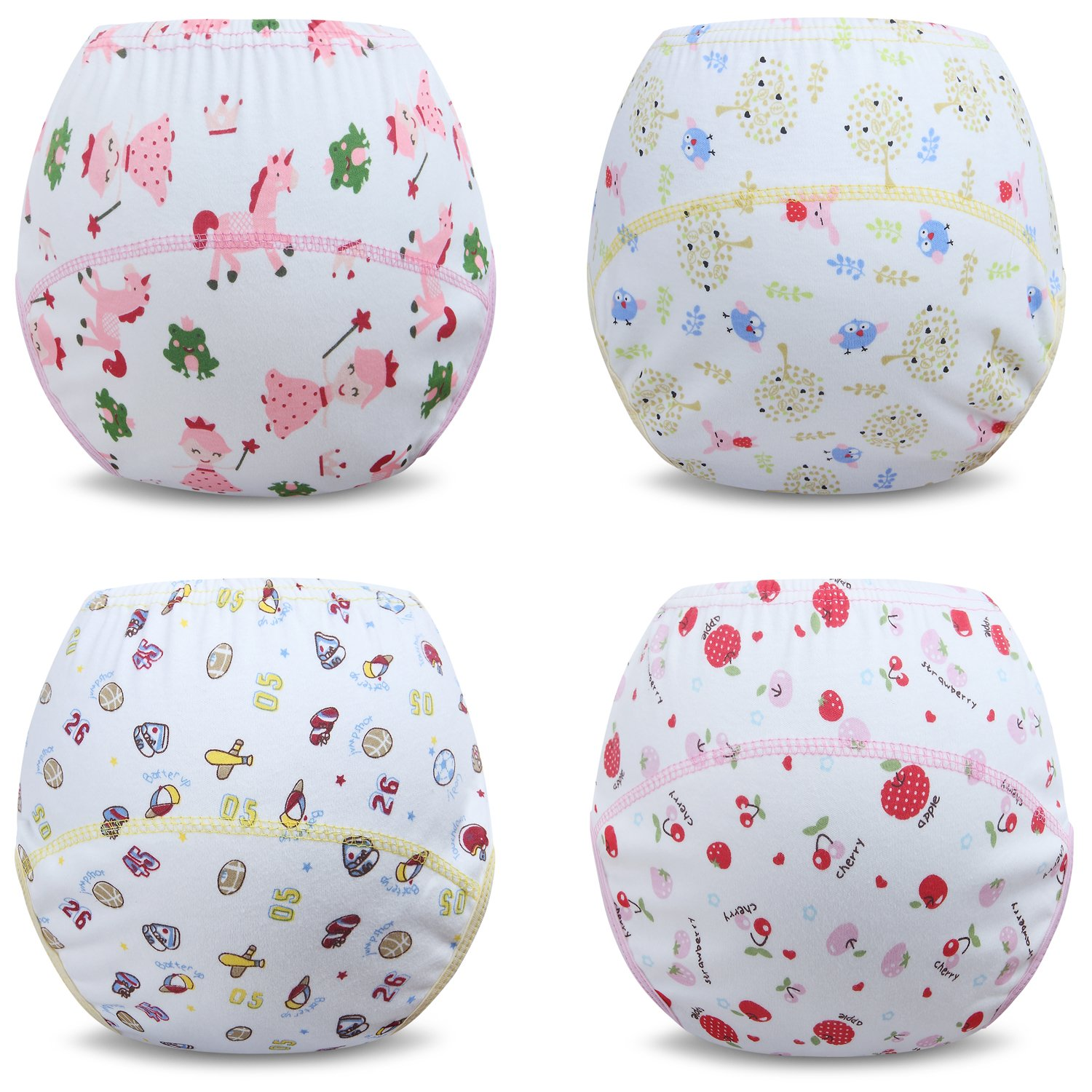 Ateid Toddlers Baby Girls' Reusable Potty Training Pants Cotton Pack of 4
