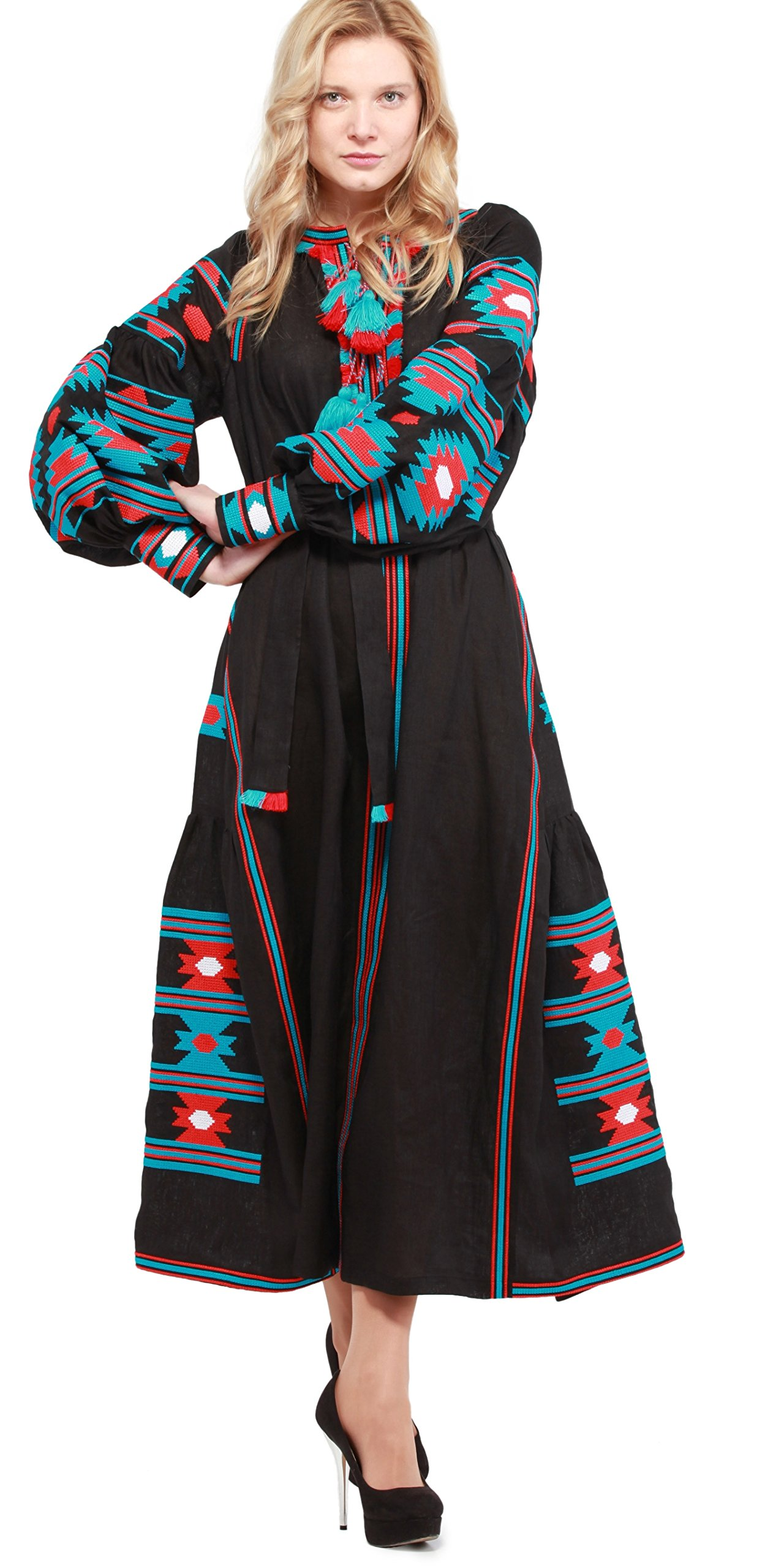 Boho Style Dress Embroidered Long Dress black woman. Vyshyvanka Ukrainian (L, 130cm black) by Boho Style Dress