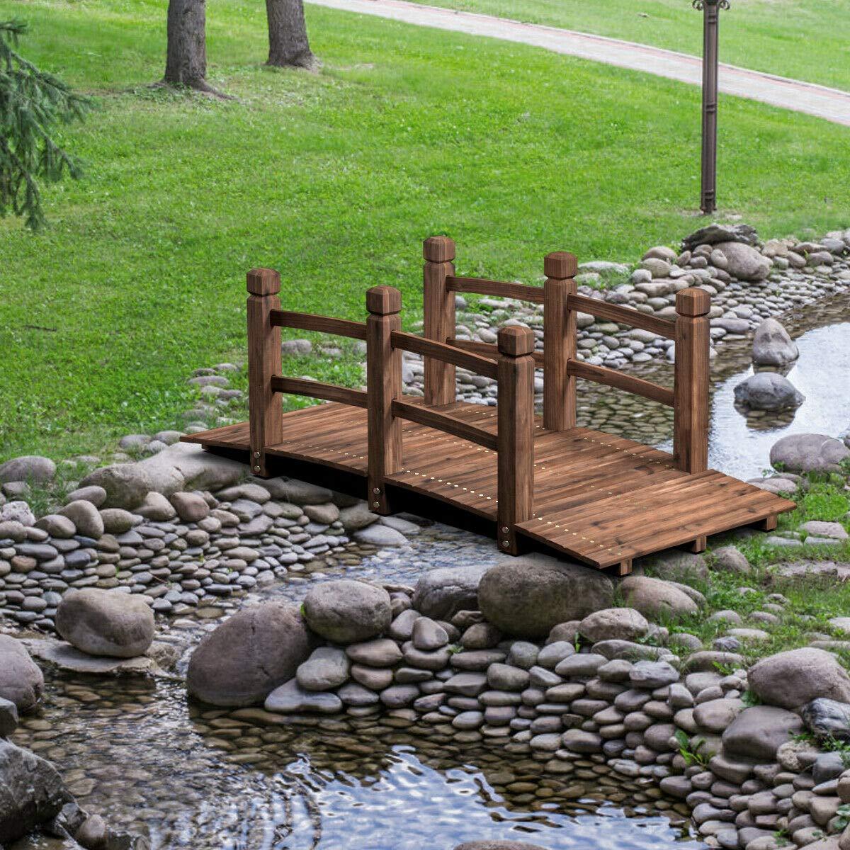 Alek...Shop Outdoor Garden Decor Bridge Wooden 5 Ft Decorative Pond Bridge Arch Backyard Walkway w/Railings, Brown