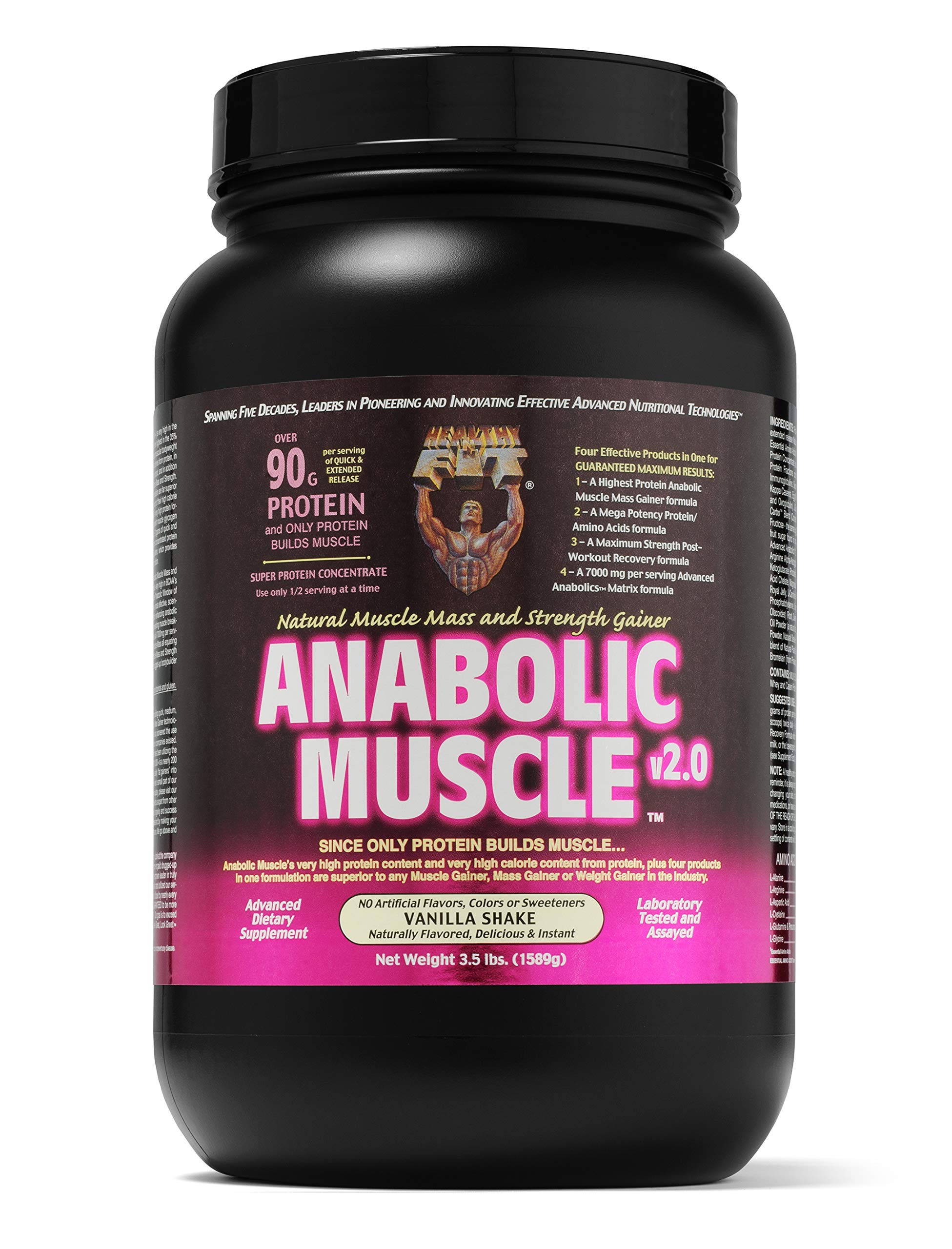 Healthy 'N Fit Anabolic Muscle (Vanilla) 3.5 lb - Natural Muscle Mass and Strength Gainer
