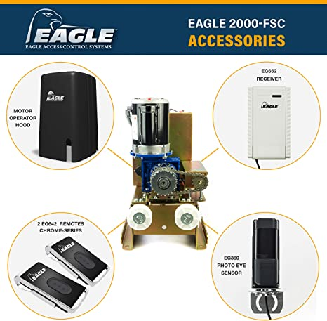 2 Remotes and EG360 Monitored Photo Eye Included Eagle-2000-FSC Gate Operator with Free Receiver