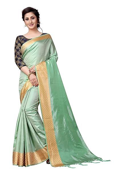 036921d6648376 SRETAN Silk Saree With Blouse Piece (New Collection Festival Mint Green  Blue Free Size)