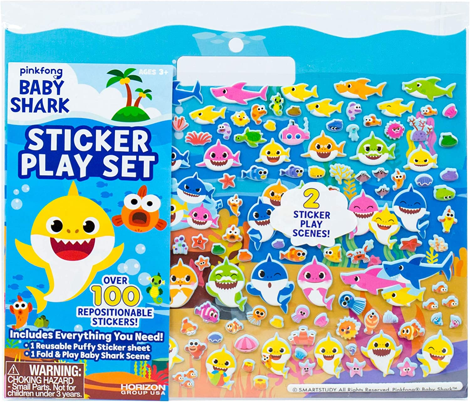 Baby Shark Sticker Play Set by Horizon Group USA Includes Over 100 Reusable Puffy Stickers & 1 Fold & Play Scene, Multicolored