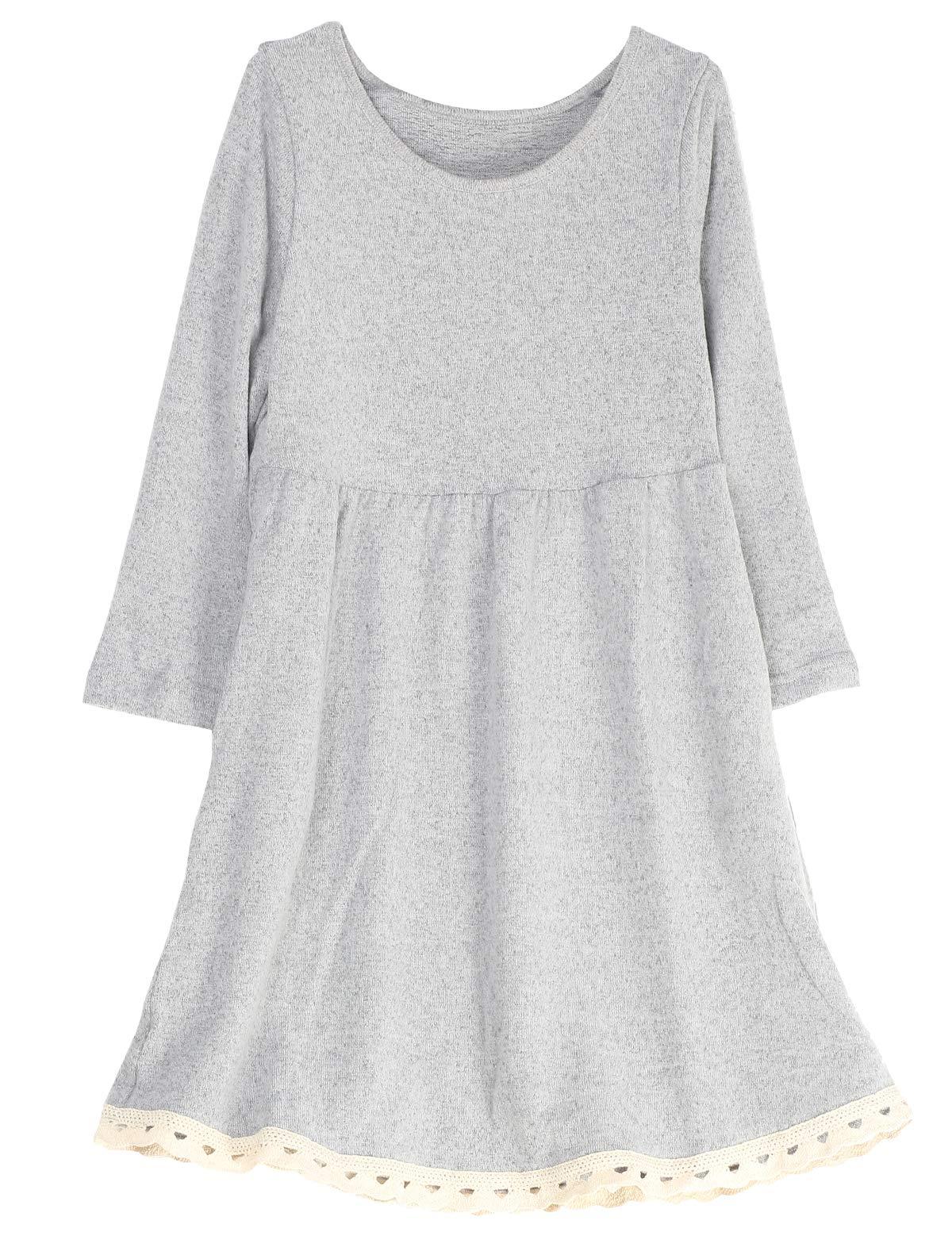 Mallimoda Big Girl's Casual Long Sleeve Knit Dress with Lace Hem Gray 9-10 Years