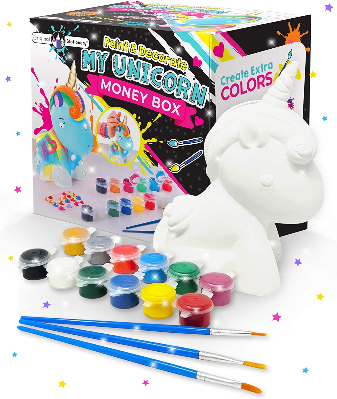 Original Stationery Regalos para Niñas - Hucha Unicornio para Pintar - Kit Pintura para Niñas y Accesorios Infantiles -Pinceles, Colores y Gemas - Regalo Niña 3 4 5 6 7 8 9 Años