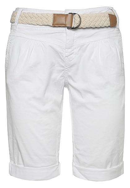 f06b02fb4b8ca0 Fresh Made Bermuda da Donna Color Pastello con Cintura Intrecciata |  Eleganti Pantaloni Corti Stile Chino Bianco XS: Amazon.it: Abbigliamento