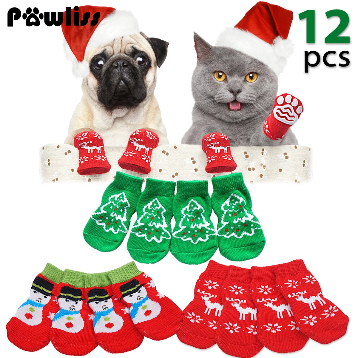 Dog Socks_m Pawliss 3 Pairs Christmas Pet Costumes Indoor Anti-Slip Cotton Dog Socks, Reindeer Snowman Snowflake Xmas Tree Pattern, Middle Size for Bigger Small Dogs