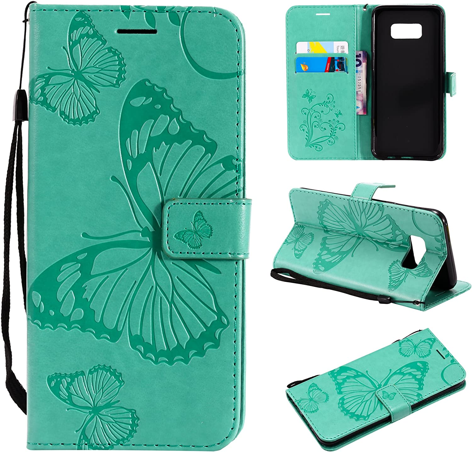 Amocase Wallet Leather Case with 2 in 1 Stylus for Samsung Galaxy S8 Plus,Premium Strap 3D Butterfly Magnetic PU Leather Stand Shockproof Card Slot Case for Samsung Galaxy S8 Plus Purple