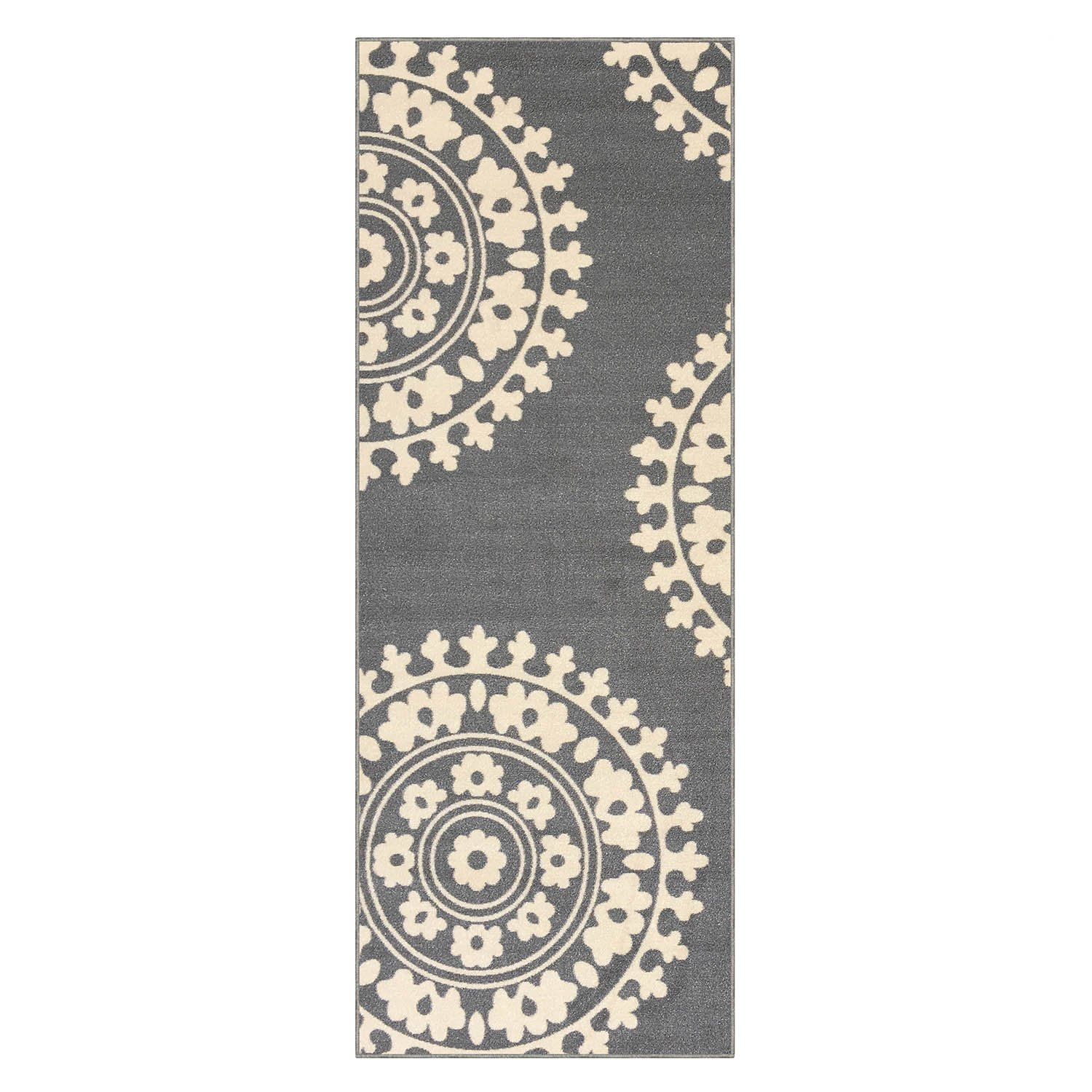 2'2'' X 6' Rubber Backed Non Slip Kitchen/Hallway / Entryway Runner Rug, Medallion Grey by Qute Home