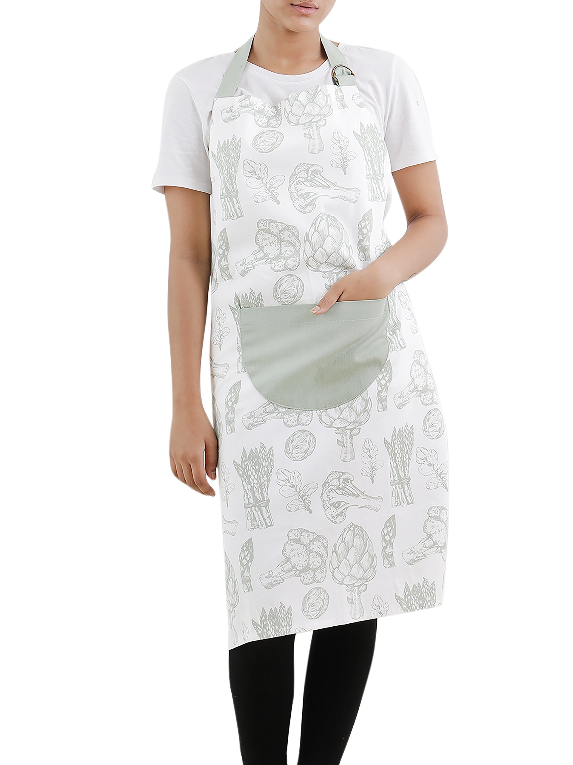 Apron, 100% Cotton, Kitchen Apron for Women & Men, Printed Apron with Pockets, Eco Friendly and Safe, Elegant in Wearing, Unisex, Green Color for all Kitchens, Size 32 X 36 Inch