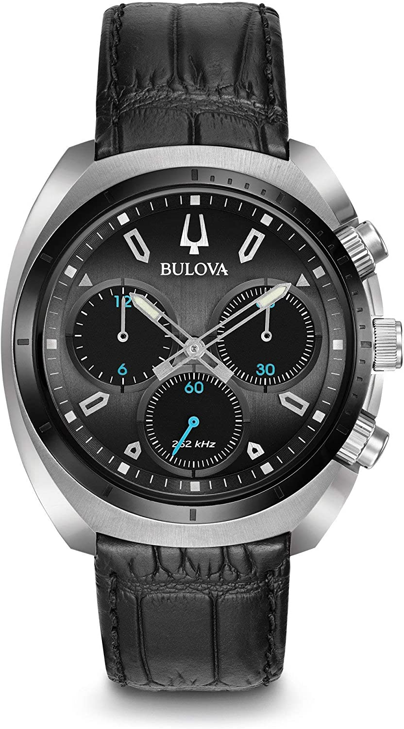 Bulova Men's Curv Collection Stainless Steel Analog-Quartz Watch with Leather-Alligator Strap, Black, 22 (Model: 98A155)
