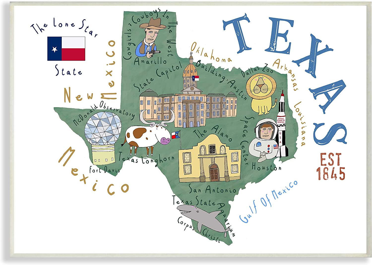 Stupell Industries Texas Landmarks and Flag Illustrated Map Wall Plaque, 13 x 19, Multi-Color