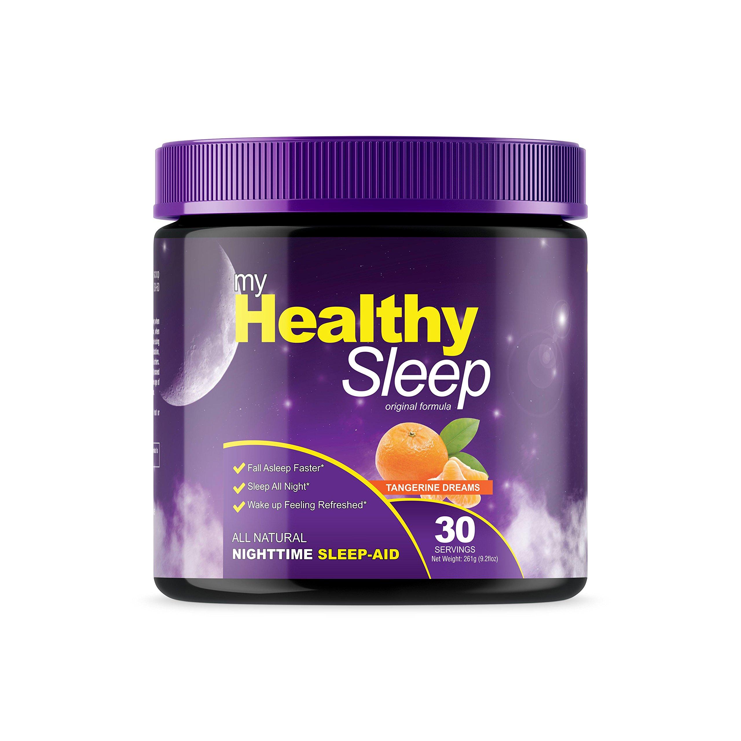 My Healthy Sleep - Natural Sleep-Aid, Sleep Supplement Powder - Contains Melatonin, L-Theanine, L-Tryptophan, Vitamin B6, Passion Flower, Ashwagandha Root, Magnolia Bark, and More! 30 Servings
