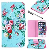 Urvoix For Apple iPhone 6 / 6S (4.7''), Rose Flower Desgin - Flip Stand PU Leather Holster Wallet Folder Case Cover for iPhone6 / iPhone6S (NOT for 6Plus)