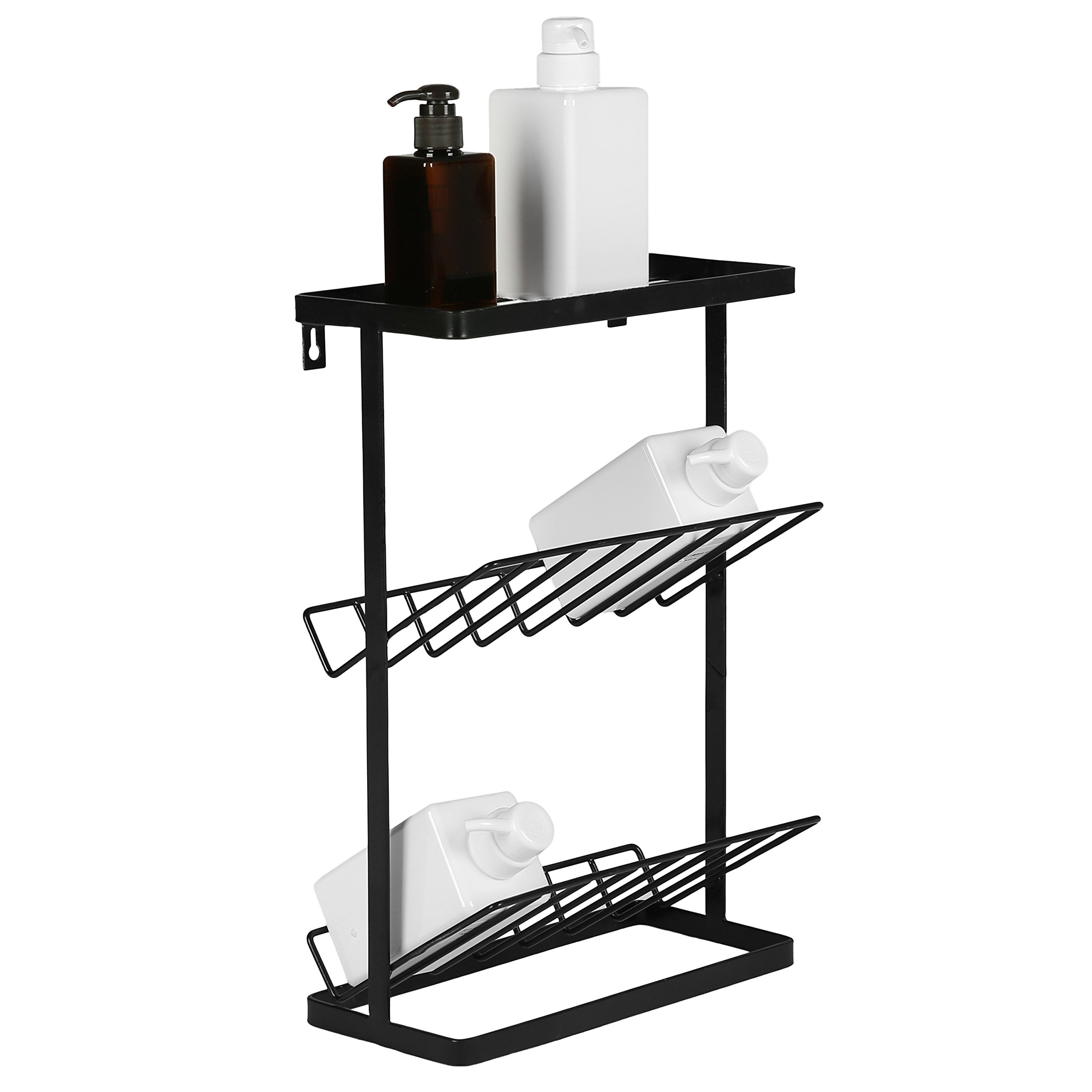 3-Tier Standing Metal Bathroom Storage Organizer Shelf, Wall Mountable Toiletries Holder Rack, Black by MyGift