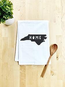Sweet Dish Towel, North Carolina Home State, Flour Sack Kitchen Towel, Sweet Housewarming Gift, Farmhouse Kitchen Decor, White