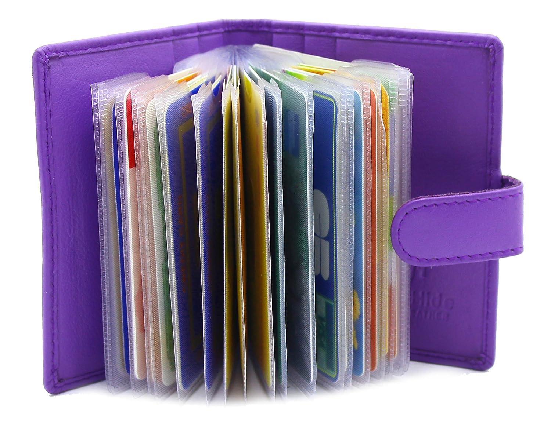 ソフト本革クレジットカードホルダー財布取り外し可能なプラスチック袖 8 x 10cm パープル B01M9EXCN0