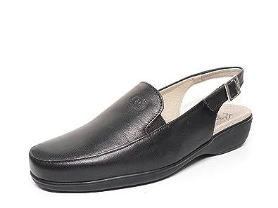 Zapato casual mujer tipo mocasin en piel color negro de la marca PITILLOS abiertos de talon 801 - 200 (36, negro): Amazon.es: Zapatos y complementos