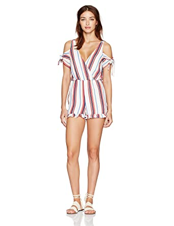 db892f1923ac28 Amazon.com: Lucca Couture Women's Cold Shoulder Stripe Tie Romper: Clothing