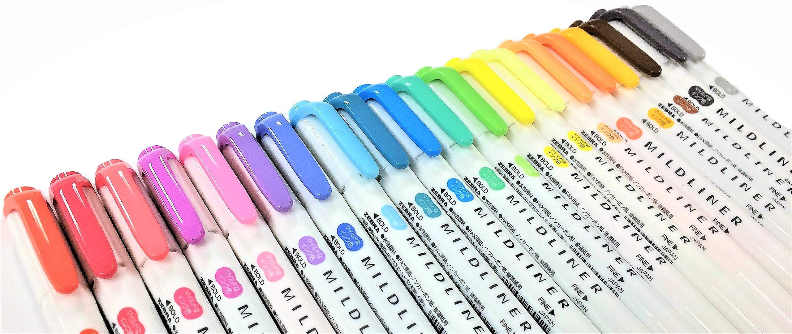 Zebra Mildliner Soft Color Double-Sided Highlighter Pens 20 Color Set(Standard 15 Color + New Warm 5 Color) with Original Vinyl Pen Case by I&O Japan (Image #3)