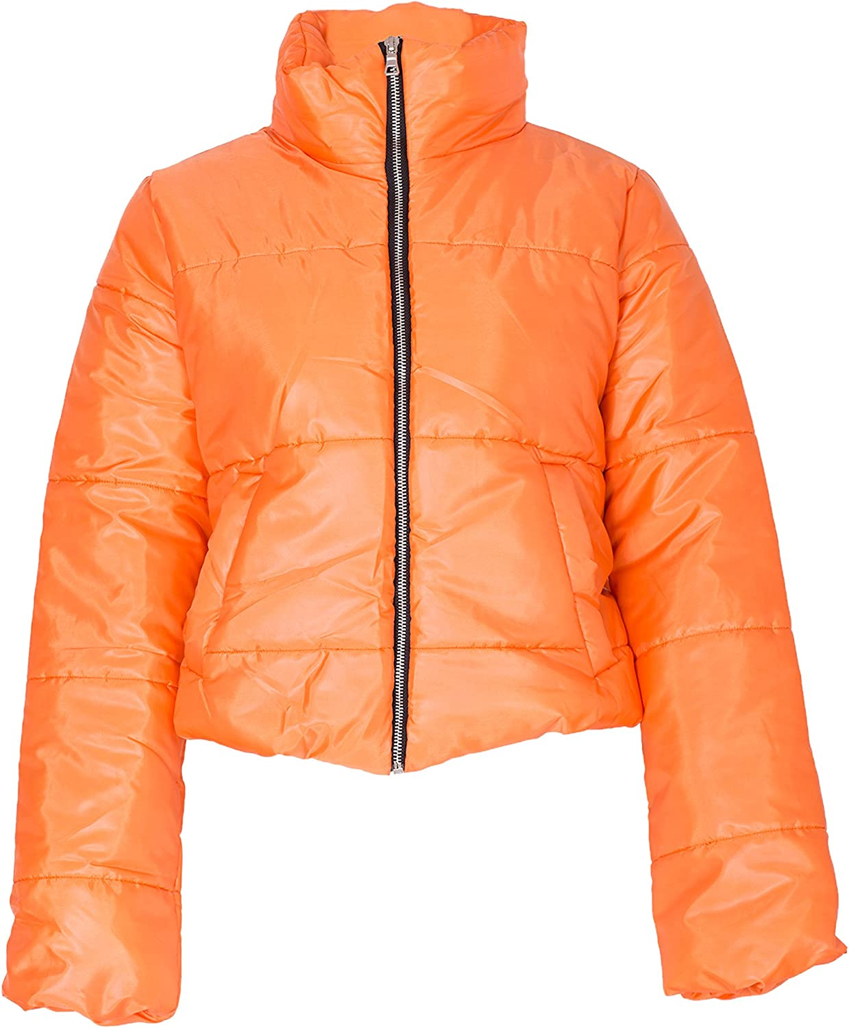 NOROZE Womens Crop Jacket Padded Puffer Coat Cropped