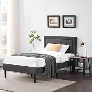 VECELO Upholstered Platform Bed Frame with Height Adjustable Headboard/Mattress Foundation with Strong Slat Support, Easy Assembly, Twin, Dark Grey