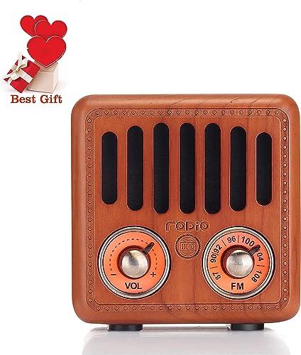 Retro Radio Vintage Bluetooth Speaker Cherry Wood FM Radio 800mAh Rechargeable Battery