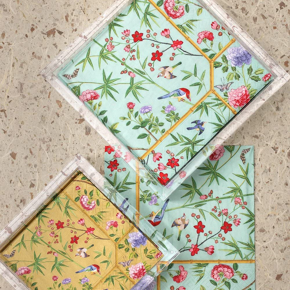 Entertaining with Caspari Chinese Wallpaper Paper Luncheon Napkins Blue 20 Pack