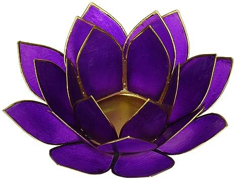 FindSomethingDifferent Lotus Chakra Candle Holder Capiz Shell Indigo Silver Trim