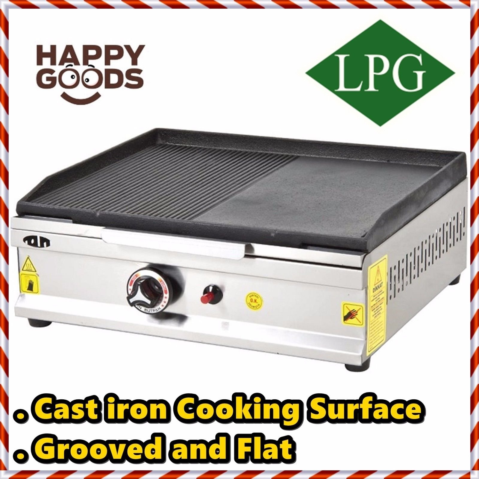 20 '' ( 50 cm ) PROPANE GAS Commercial Kitchen Equipment GROOVED AND FLAT CAST IRON SURFACE Countertop Flat and Grooved Top Grill Restaurant Cooktop Manual Griddle