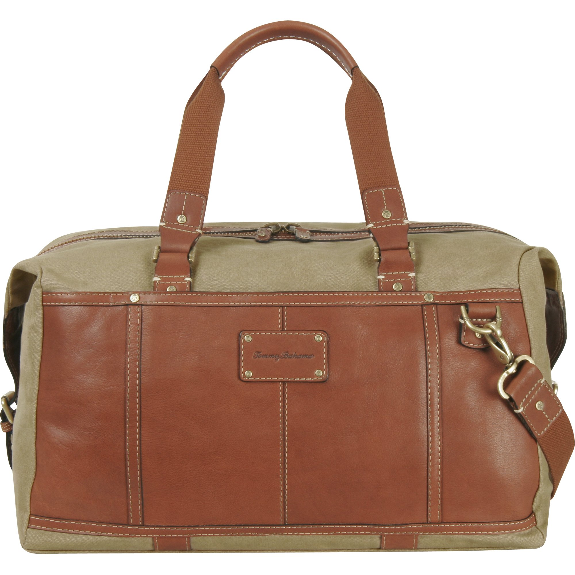 Tommy Bahama Luggage Casual Duffle Bag, Khaki/Cognac, One Size by Tommy Bahama
