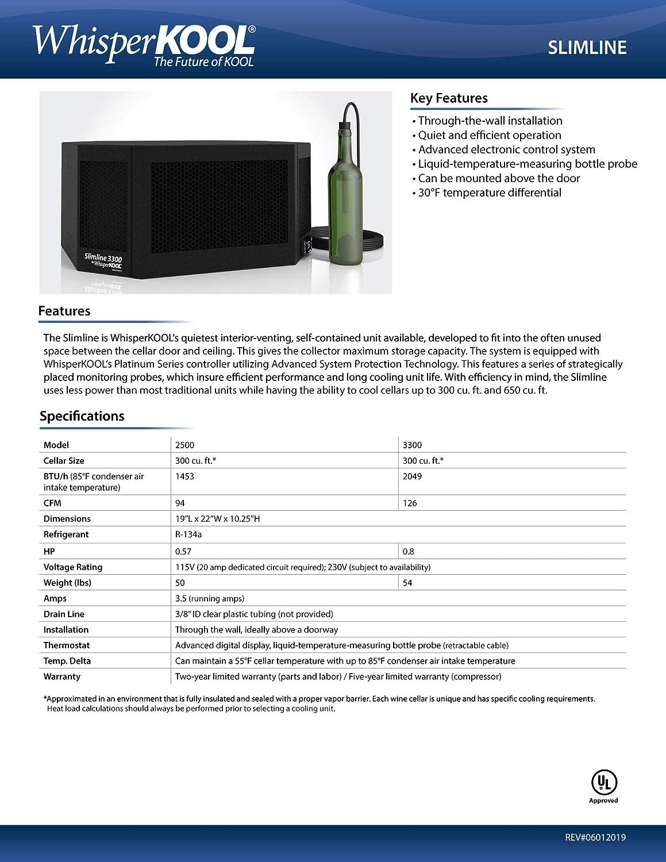 WhisperKOOL Slimline 2500 Wine Cellar Cooling Unit