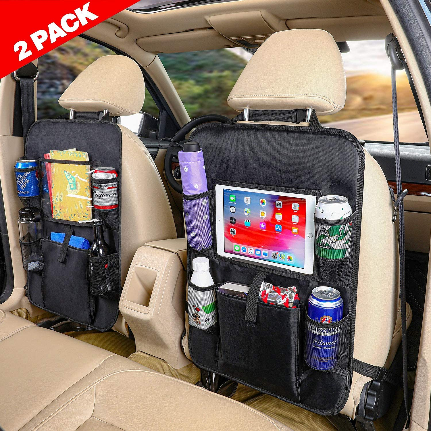 Pack of 2 Car Back Seat Protector Car Back Seat Organizer for Kids Kick Mat Protector for Car Seat Large Pockets and iPad//Tablet Compartment Waterproof Car Seat Protector