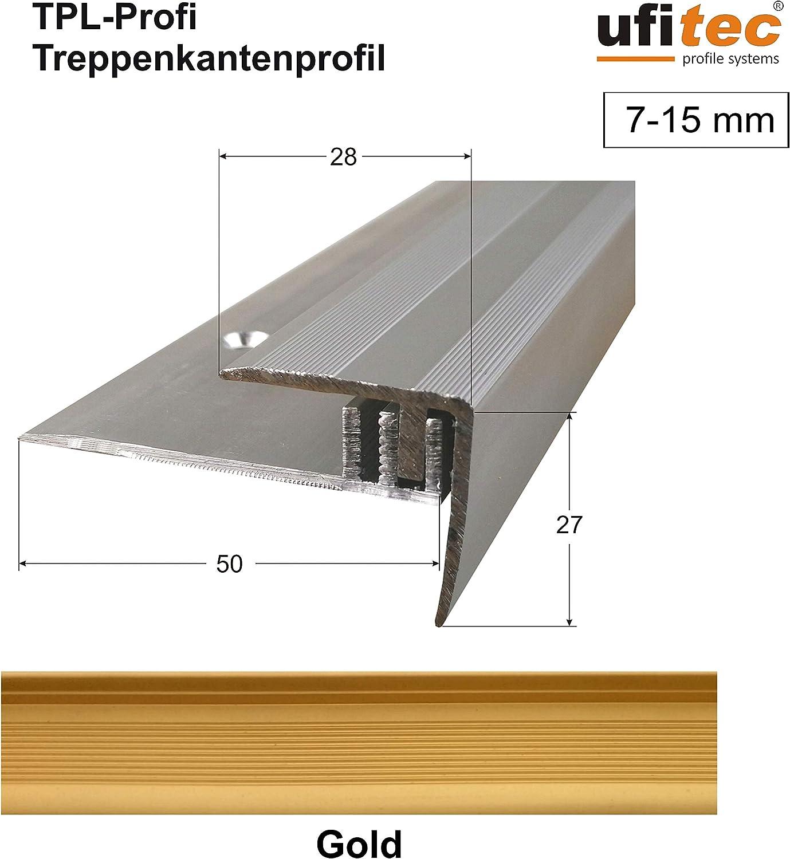 f/ür Belagsh/öhen von 7-15 mm Treppenkantenprofil 270 cm lang, Bronze Dunkel viele Farben lieferbar ufitec Profilsystem f/ür Parkett- und Laminatb/öden
