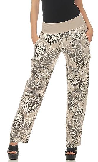 71bec53dee Malito Women Pant Linen Jungle Print Trousers Chino Sweatpants 7790: Amazon. co.uk: Clothing