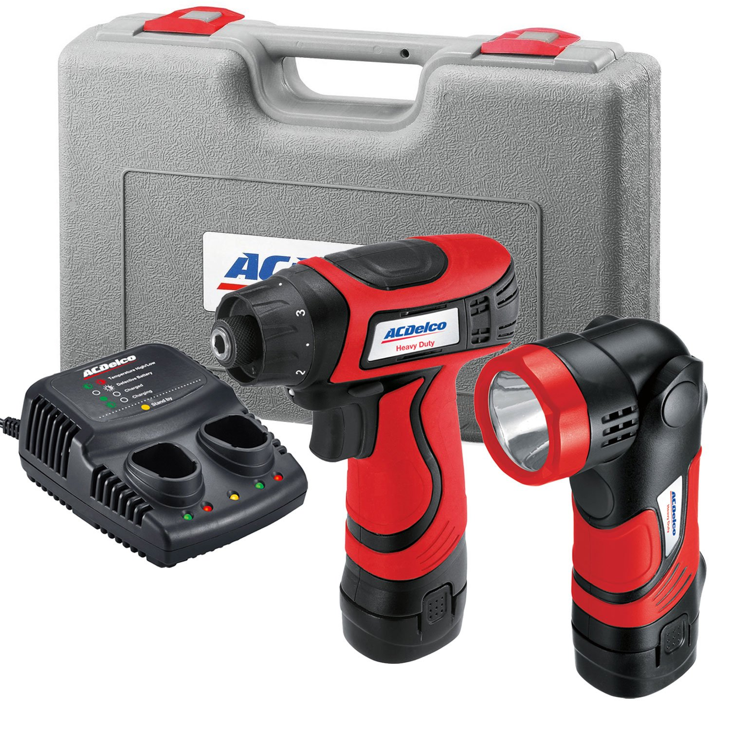AcDelco ARD847L Cordless 8V Li-ion Drill/Driver Set Combo Kit with Case, LED Work Light, 2-Port Charger, and 2 Batteries